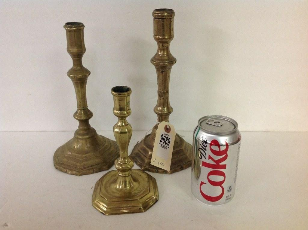 3 18TH C. FRENCH BRASS CANDLESTICKS, THEY MEASURE 10