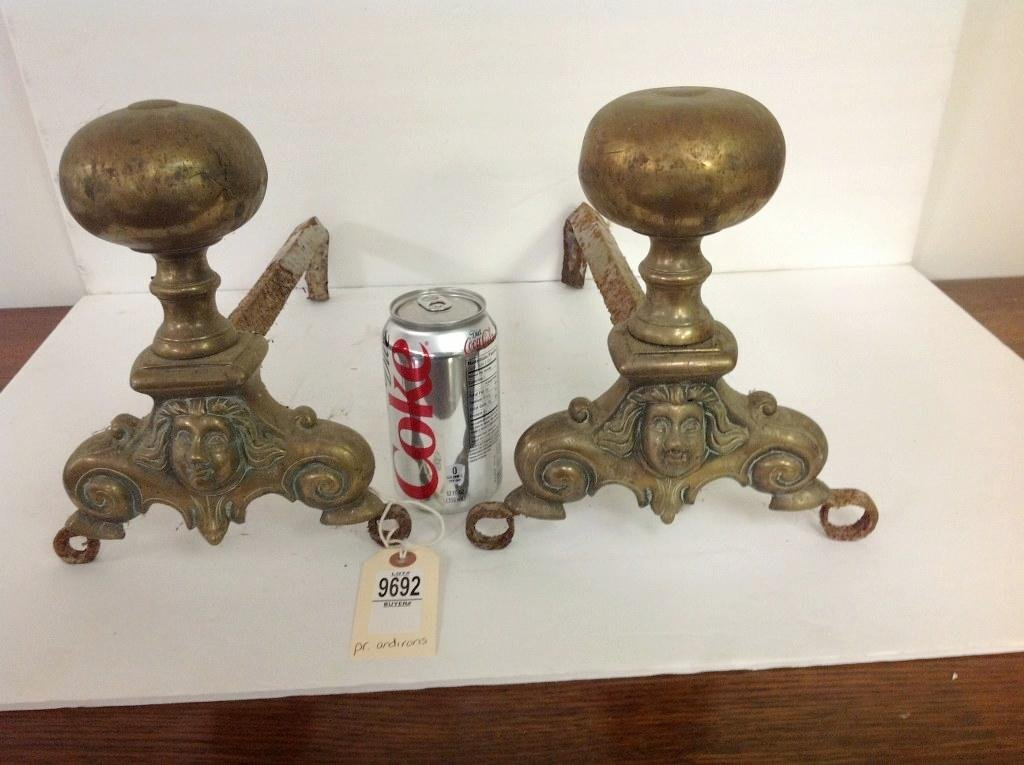 """PAIR OF 18TH C. FRENCH BRASS ANDIRONS, MEASURE 9 1/2"""""""
