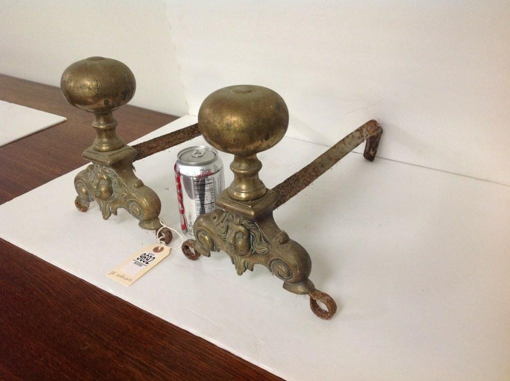 """PAIR OF 18TH C. FRENCH BRASS ANDIRONS, MEASURE 9 1/2"""" - 2"""