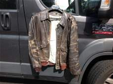 WWII LEATHER BOMBER JACKET AGE WORN TO THE LEATHER AS
