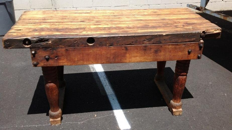 EARLY BUTCHER BLOCK TABLE WITH NICE PATINA AND WEAR,