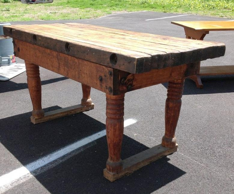 EARLY BUTCHER BLOCK TABLE WITH NICE PATINA AND WEAR, - 2