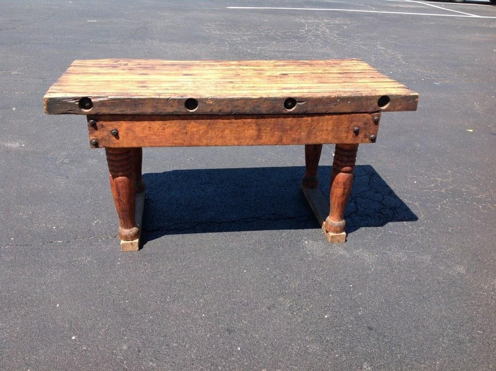 EARLY BUTCHER BLOCK TABLE WITH NICE PATINA AND WEAR, - 5