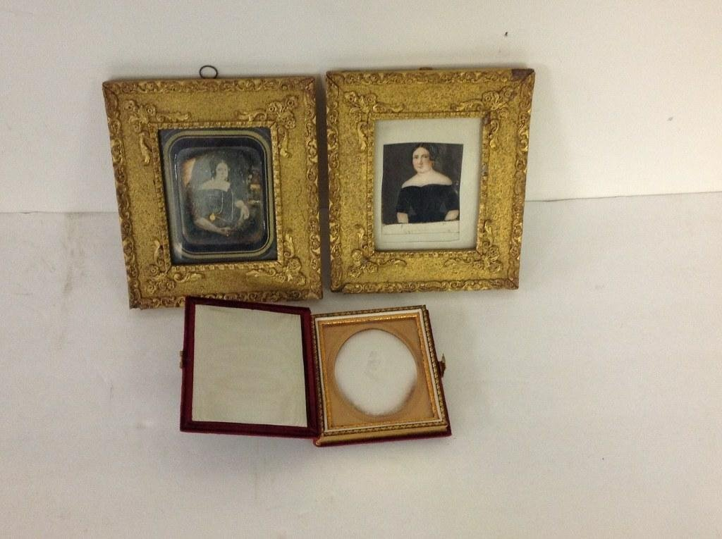 LOT OF 2 DAGUERROTYPES & MINIATURE PORTRAIT OF WOMAN,