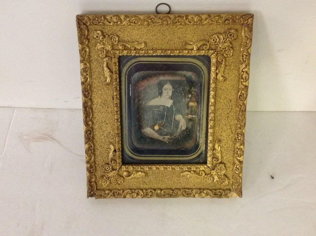 LOT OF 2 DAGUERROTYPES & MINIATURE PORTRAIT OF WOMAN, - 2