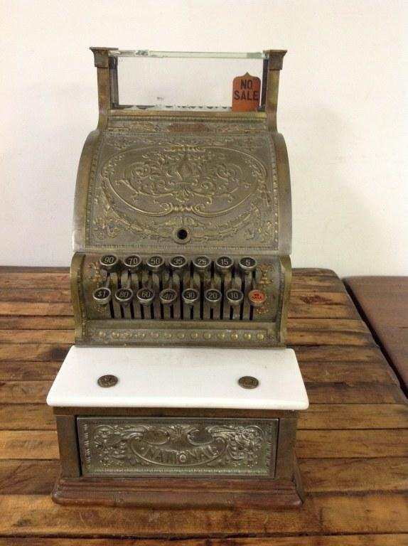 NATIONAL BRASS CASH REGISTER MODEL 313 BARBERSHOP OR
