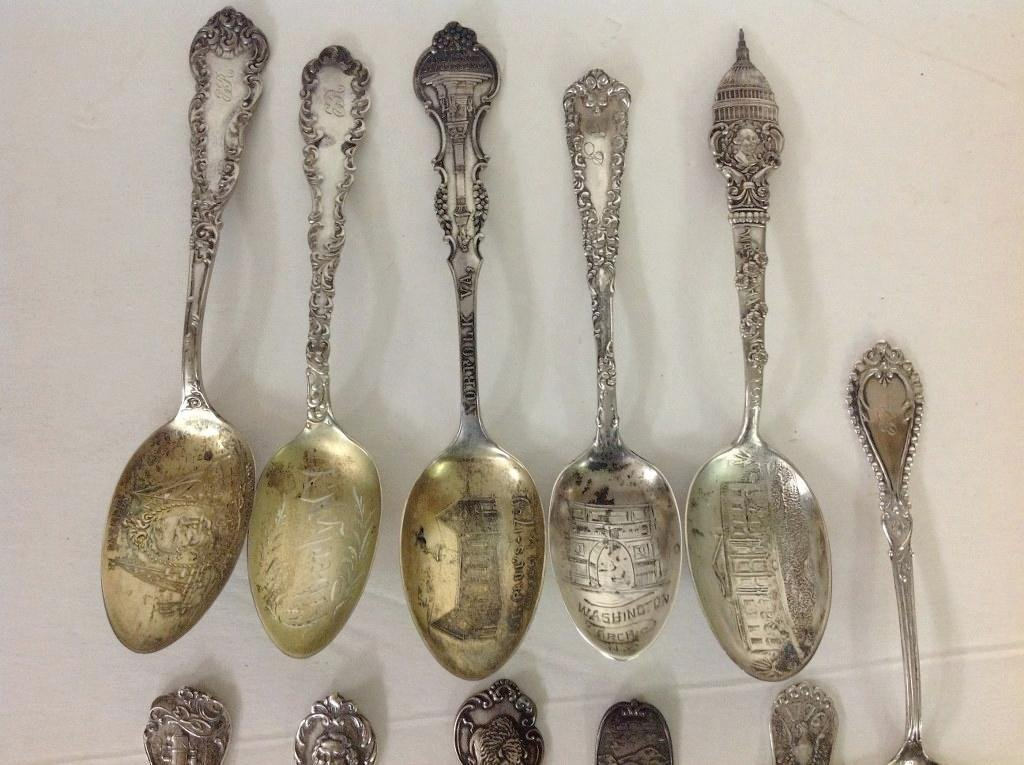 11 STERLING OLDER SOUVENIR SPOONS, WEIGH 6.77 TROY - 2