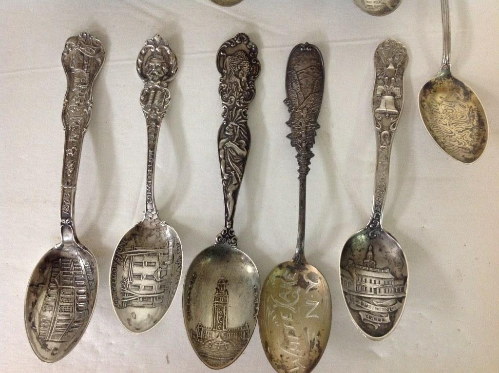 11 STERLING OLDER SOUVENIR SPOONS, WEIGH 6.77 TROY - 3