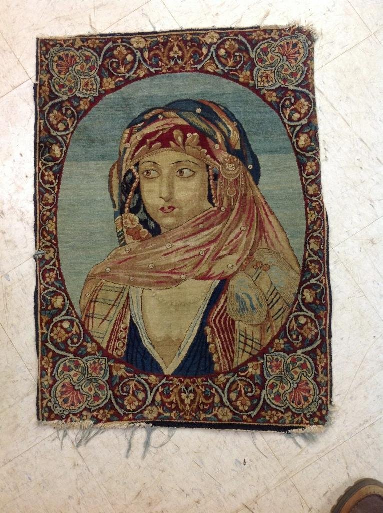 EARLY HAND MADE PORTRAIT ORIENTAL RUG, HAS SOME FRAYING
