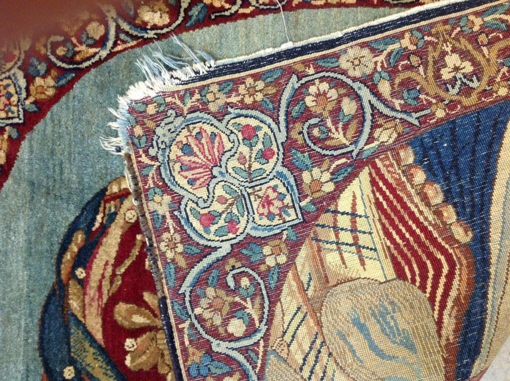 EARLY HAND MADE PORTRAIT ORIENTAL RUG, HAS SOME FRAYING - 2