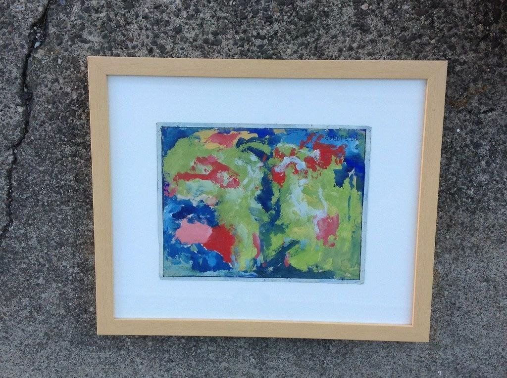 ROLPH SCARLETT ABSTRACT GOUACHE SIGNED LOWER RIGHT,
