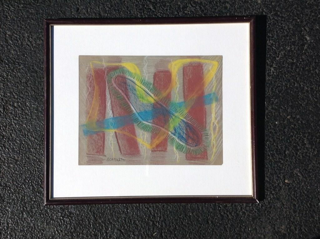 """ROLPH SCARLETT ABSTRACT PASTEL, MEASURES 9"""" X 11 1/2"""","""