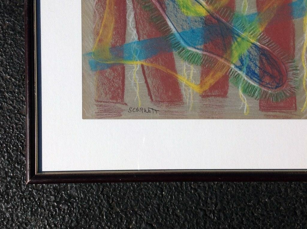 """ROLPH SCARLETT ABSTRACT PASTEL, MEASURES 9"""" X 11 1/2"""", - 2"""