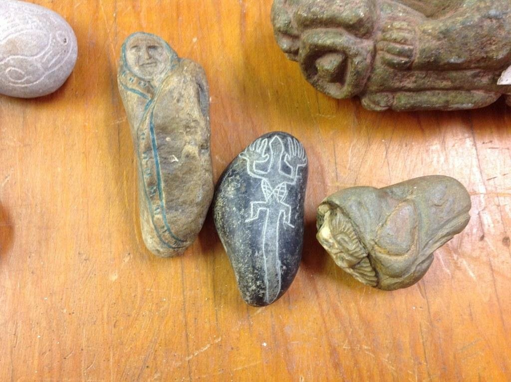 (17) OLD CARVED STONE INDIAN ARTIFACTS AND RELATED. NOT - 6