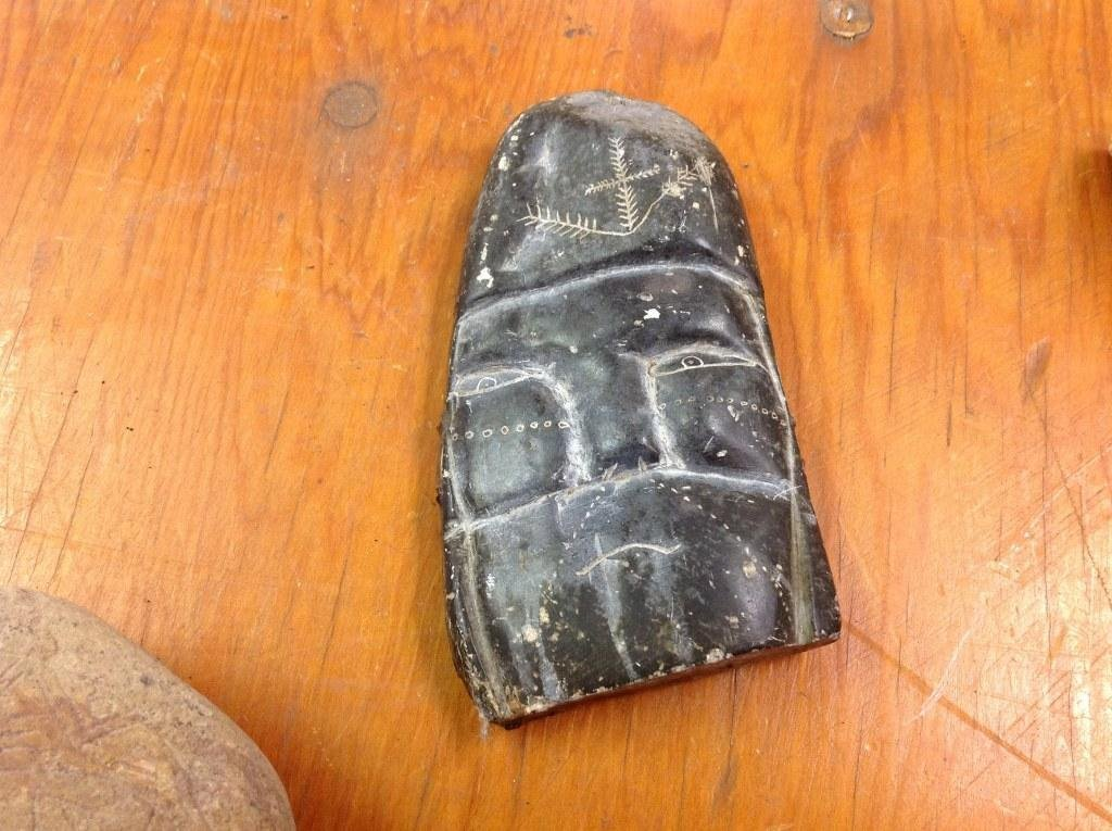 (17) OLD CARVED STONE INDIAN ARTIFACTS AND RELATED. NOT - 8