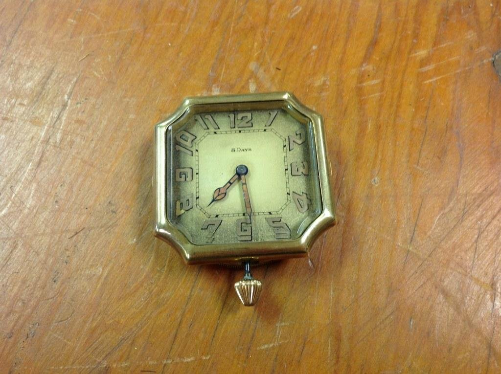 LECOULTRE 6 JEWEL SANDOZ CAR CLOCK, 8 DAY, RUNNING, AS