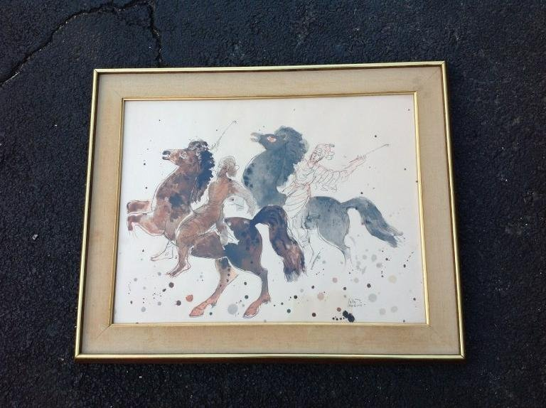 FRAMED REUVEN RUBIN PRINT OF 2 PEOPLE ON HORSES,