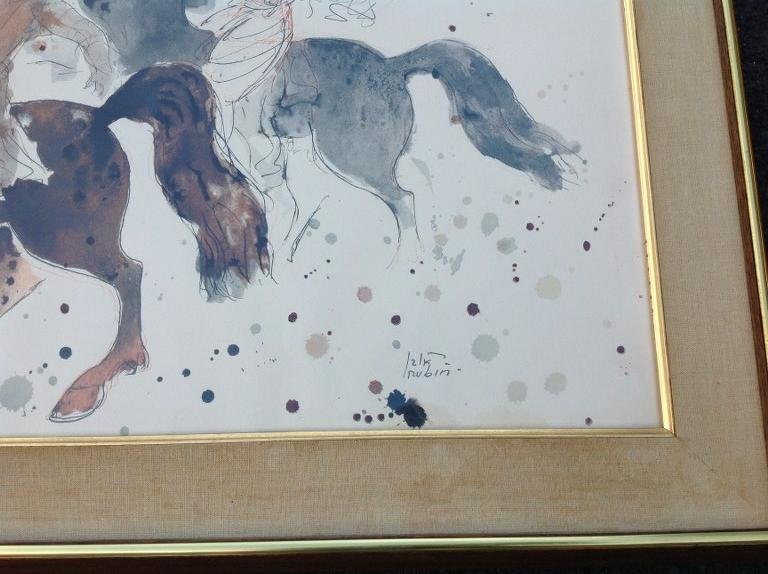 FRAMED REUVEN RUBIN PRINT OF 2 PEOPLE ON HORSES, - 2