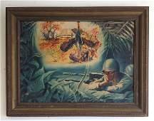 BERT YATES WWII ILLUSTRATION GOUACHE & W/C ON BOARD,