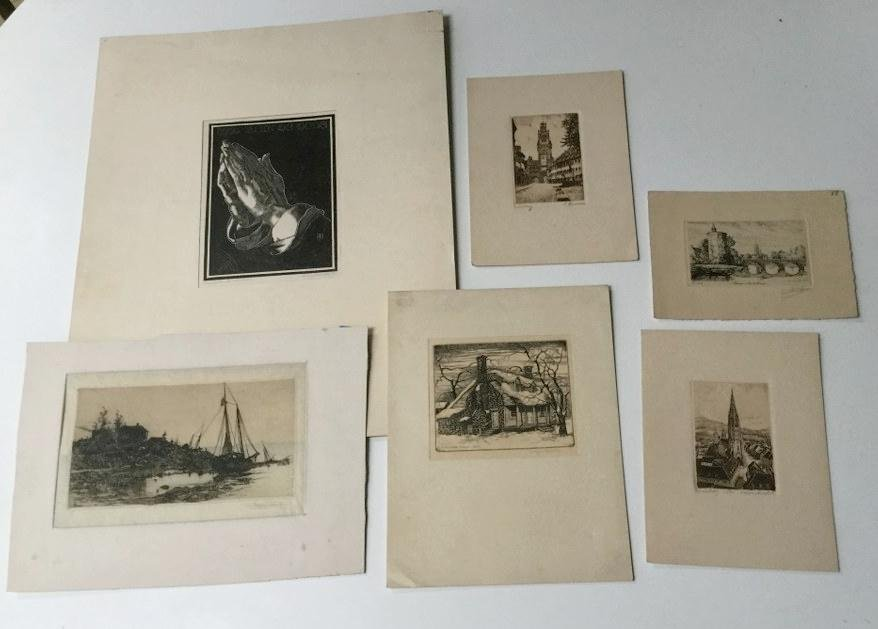 5 EARLY SIGNED PRINTS FROM ESTATE INCL STEPHEN PARRISH