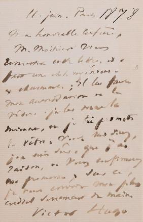 Victor Hugo - Lettre Autographe Signée à [mon Honorable