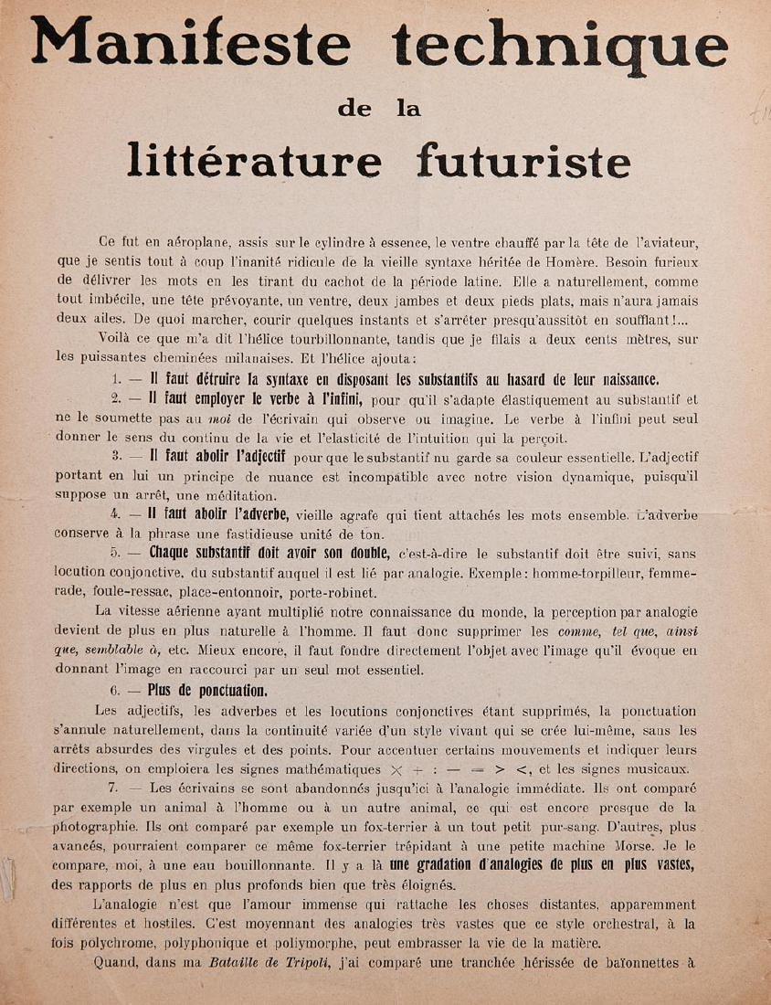 [FUTURISME] F. T. MARINETTI - Manifeste technique de la