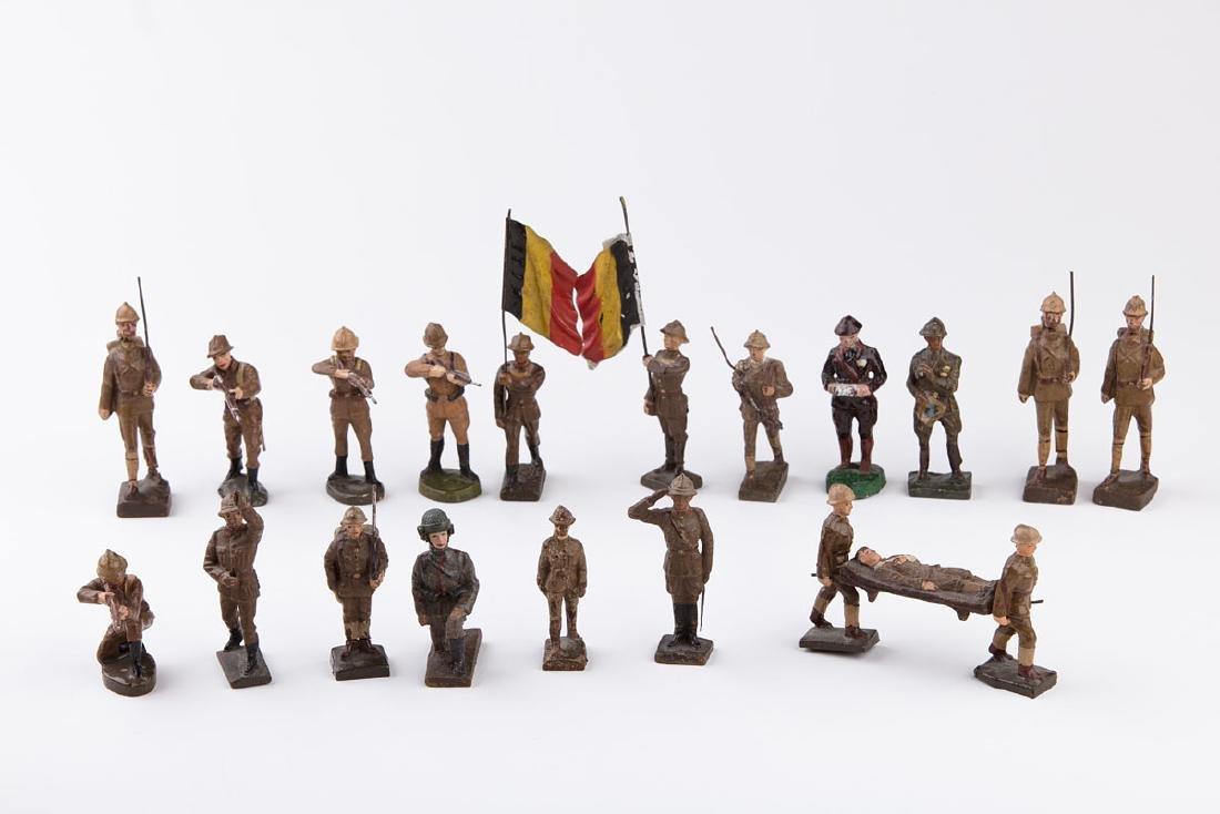 [BELGIQUE] LINEOL - Armée belge. 3 porte-drapeau dont
