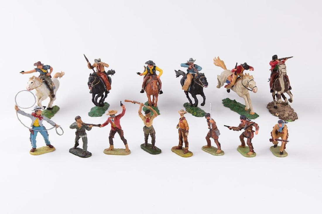 [FAR WEST] ELASTOLIN - 6 cowboys à cheval et 23