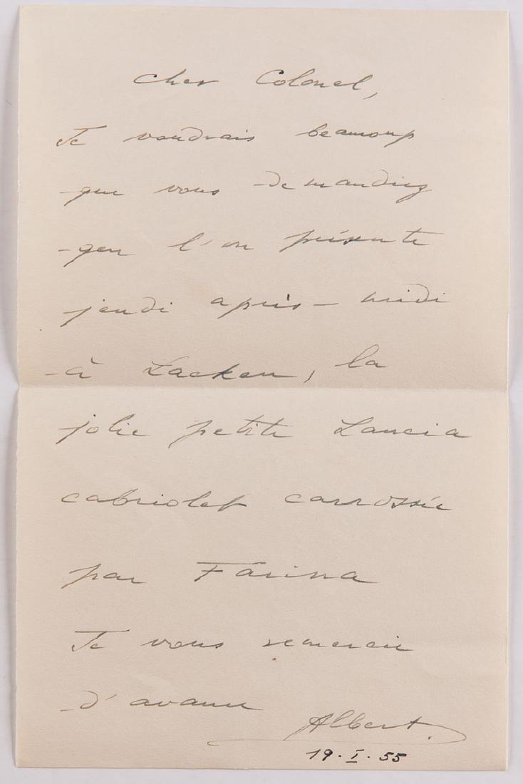 Prince ALBERT - Lettre autographe signée adressée au