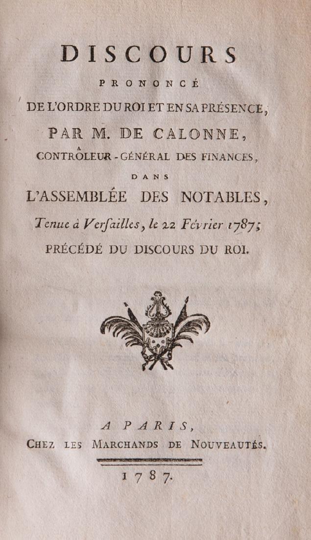 Charles-Alexandre de CALONNE - Discours prononcé de