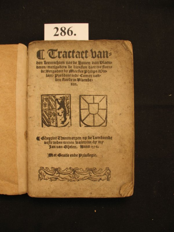 286: WIELANT Tractaet leenrechten droit law 1576 recht