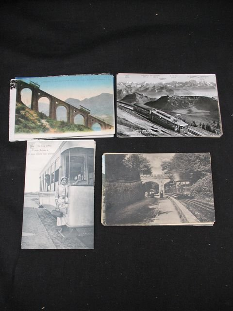 17: Trains trams funiculaires cartes postales postcards