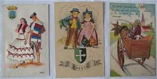 Fantaisie & Étranger. Environ 1100 cartes postales,