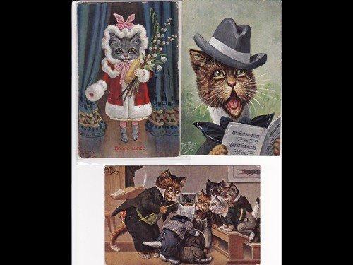 10: Fantaisie. Chats. Environ 220 cartes postales.