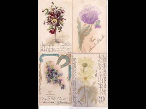 11: Fantaisie. Fleurs. Environ 120 cartes postales anci
