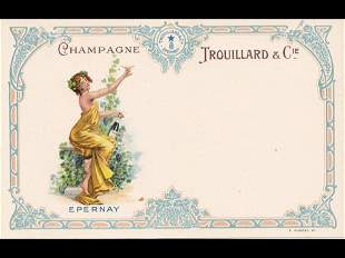 Fantaisie. Cartes postales-Menu «Champagne Trouilla