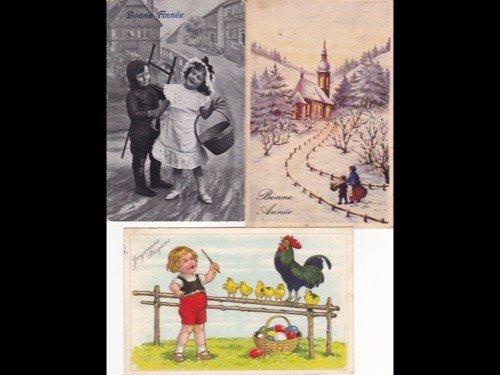 13: Fantaisie. Voeux. Environ 250 cartes postales ancie