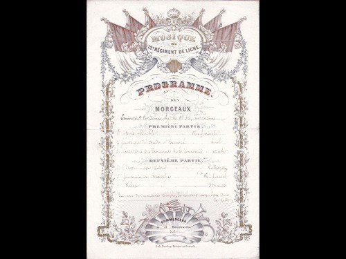 16: [Cartes Porcelaine] Programme. Musique du 12e Régim