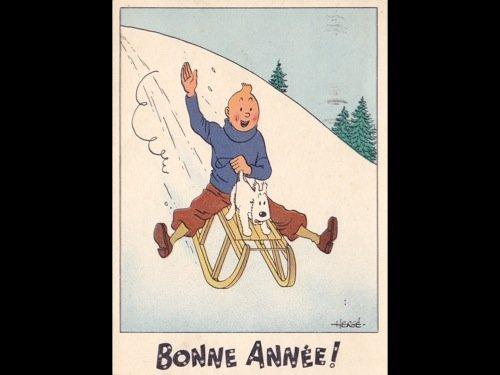 9: HERGÉ - 2 cartes postales de voeux de Bonne A