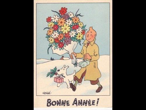 10: HERGÉ - 3 cartes postales de voeux de Bonne