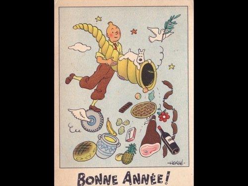 HERGÉ - Tintin et la corne d'abondance. Carte postale d