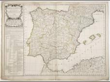 Didier ROBERT DE VAUGONDY  Carte des Royaumes dEspagn