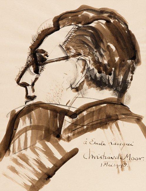 Christian de MOOR - [Portrait. Homme de profil].
