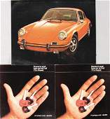 PORSCHE Mixed lot with 3 pieces, among them 2x fold-out