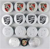 PORSCHE Mixed lot of 15 pieces, decorative hub caps,