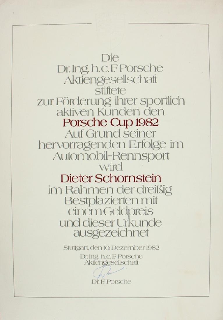 DIETER SCHORNSTEIN/PORSCHE certificate Porsche Cup 1982