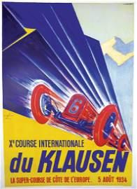 "10th KLAUSEN RENNEN 1934 poster ""Xe Course"