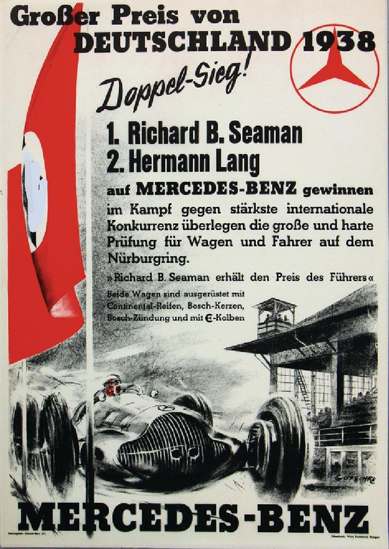 MERCEDES-BENZ Germany 1938 small poster DinA4, Grand