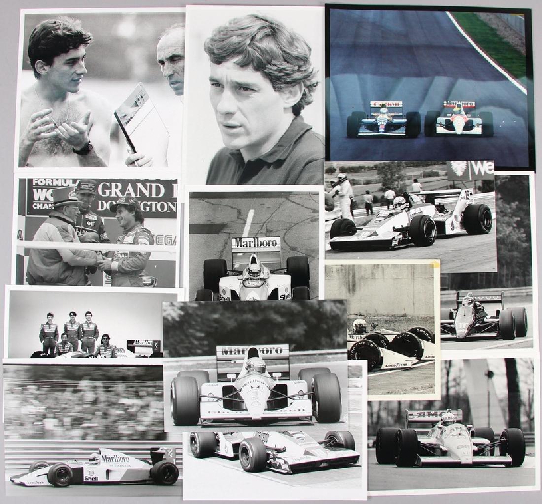 AYRTON SENNA mixed lot with 13 pieces,, racing photos