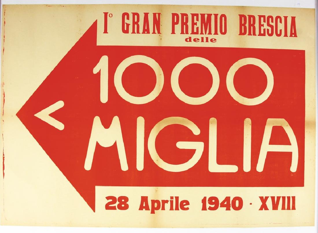 MILLE MIGLIA 1940, racing poster first Gran Premio